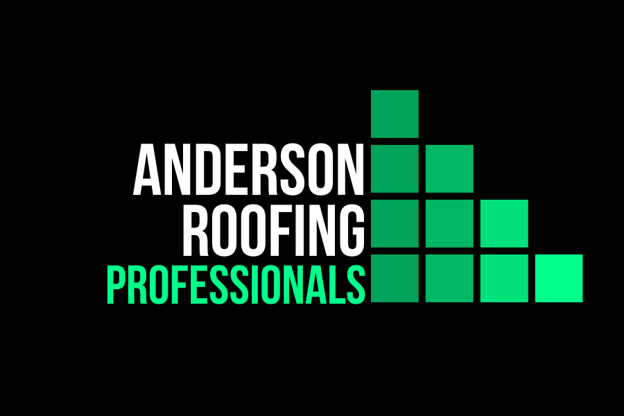 anderson roofing professionals white and green logo